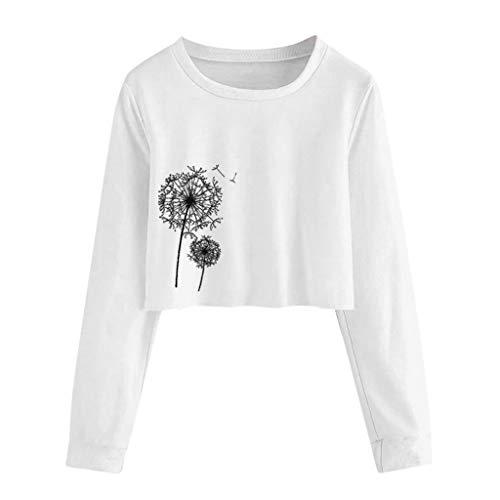 TAMALLU Damen T-Shirts Mode Schöne Herbst Wild Lange Ärmel Bedruckte Tunika(Weiß,S) (Tragetaschen Winter-boots Für Frauen)