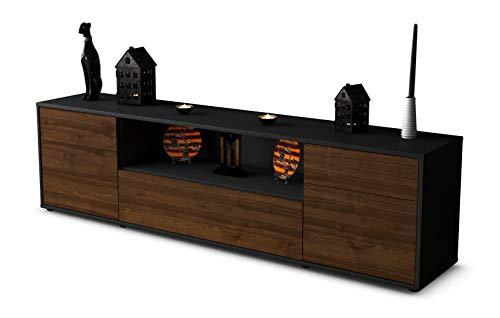 Stil.Zeit TV Schrank Lowboard Biggi, Korpus in Anthrazit Matt/Front im Holz-Design Walnuss (180x49x35cm), mit Push-to-Open Technik und Hochwertigen Leichtlaufschienen, Made in Germany