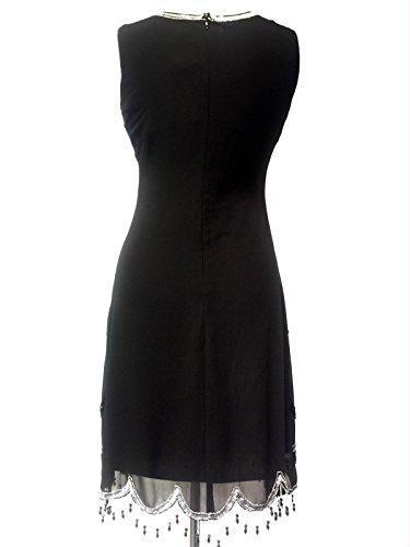 Damen 1920er Vintage Stil Charleston-mädchen Gatsby Abbey Fransen Wulstig Paillette Schiftkleid Schwarz