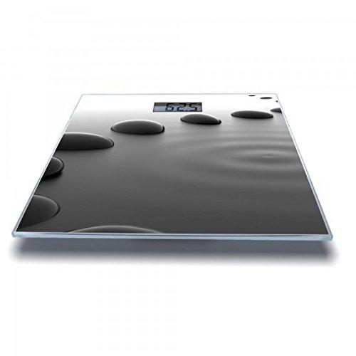 banjado - Personenwaage digitale Körperwaage 30cm x 30cm aus Glas mit Motiv Schwarze Steine Digitale Bild-anzeige