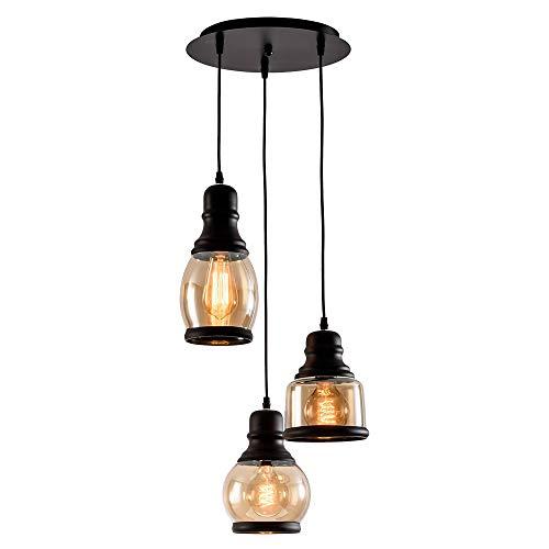 RUXMY Wollter Eisen-Kronleuchter, Retretro einfache 3-Bowling-Glas Pendant Lampe für Restaurant Bar-Café dekoriert Kristall-Deckenlampe