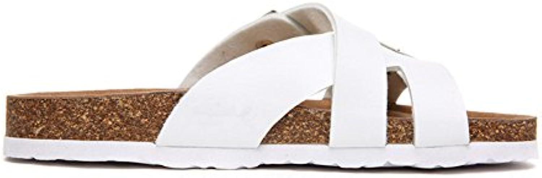 Dos Correas Sandalias Moda Mujer Zapatos De Playa Corcho Zapatillas de pie Flip Flop Sandalias Antideslizantes.