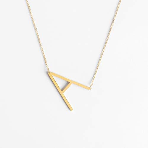 ILLISIO Big Letter Necklace | Damen Edelstahl Halskette | personalisierte Kette mit großem Buchstaben Anhänger in Gold, Silber und Roségold (A, Gold) (Gold Ketten Frau)