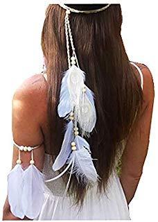 Juego de 2 diademas de plumas de pavo real blancas bohemias para mujer