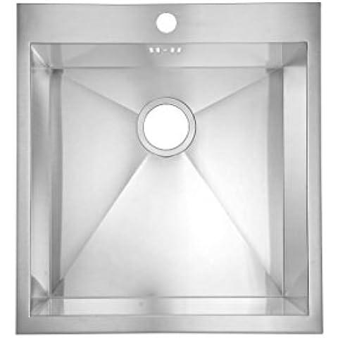 500 x 400 mm, con supporto, a incasso, per lavandino da cucina, in acciaio INOX satinato con foro rubinetto & rifiuti (DS021)