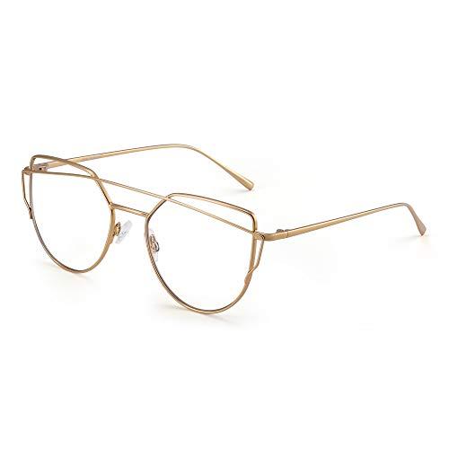 JIM HALO Katzenauge Blaues Licht blockieren Computer Brillen Damen Video Spiel Gläser, Reduzieren Auge Belastung Gold