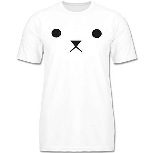 (Karneval & Fasching Kinder - Teddy Gesicht Fasching - 110-116 (5-6 Jahre) - Weiß - F140K - Jungen T-Shirt)