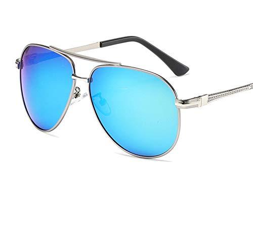 Sonnenbrillen für Männer/Retro-polarisierte Gläser/Unisex/Fliegerbrillen/Festes Scharnier/UV- und Blendschutz, Blau, 142 * 65mm