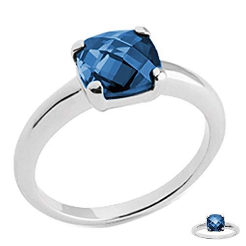 Les Trésors De Lily [Q3719 - Solitaire Argent 'Unique' Bleu Saphir - 8x8 mm (rhodié)