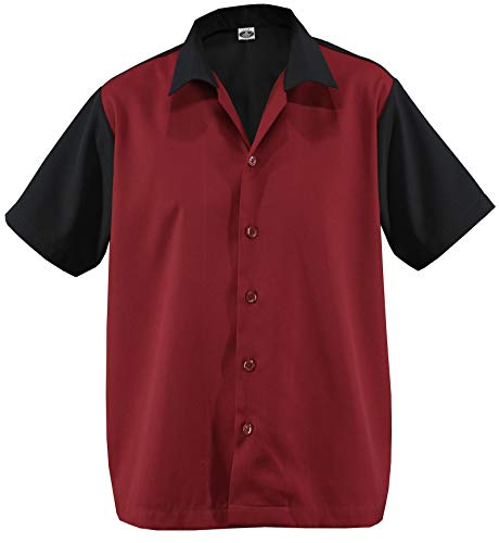 Herren Bowling Shirt Work gab Hemd Rockabilly Teddy Boy Two Tone Gabardine Lounge Fifties Vintage Retro 50's 50'er Double Panel D670 (L/Large, Schwarz/Rot)