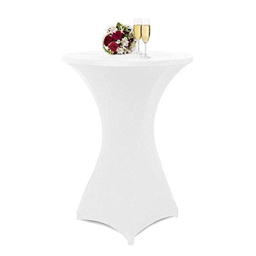 Yahee Stehtischhusse Stretchhusse Tischüberzug Tischdurchmesser Weiß (S_ca. 60 cm)