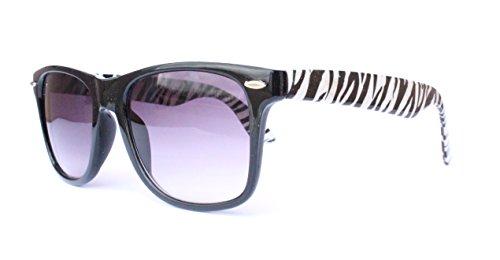 o Vintage Sonnenbrille Sommerbrille Clubmaster Style Rockabilly Trend 2017 2018 Mode Fashion Fashionbrille Beach Club Brille zebar schwarz weiss gestreift ()