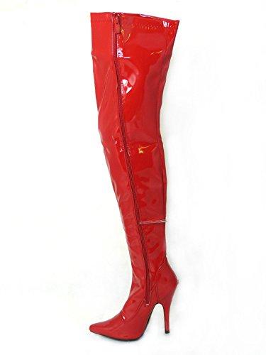 Damen-Stiefel, sexy, oberschenkelhoch, Fetisch-Stiefel mit Stiletto-Absatz, durchgehender seitlicher Reißverschluss, Größen 36 - 45 , Rot - rotes Leder - Größe: 46