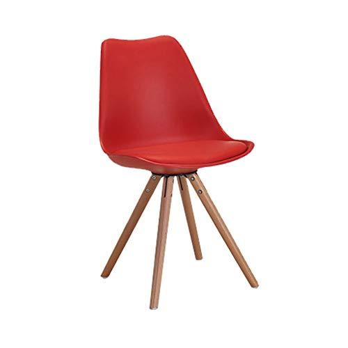 ZHENHAO 2er Set Esszimmerstühle Mit Massivholz Eiche Bein Und Kunststoff Pp Material Für Büro Lounge Esszimmer Küche Schwamm Pad (maximales Gewicht 120 Kg),red -