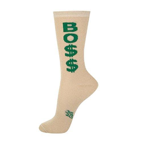 Dollar-Zeichen grün Gold eine Größe für Erwachsene Crew Socken für Damen Einheitsgröße Beige ()