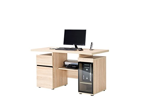 Jahnke CPL 245 SANREMO EI HELL T.1-2 Computer-Schreibtisch, E1-Spanplatten, melaminharzbeschichtet, ESG-Sicherheitsglas, metall pulverbeschichtet, 138 x 68 x 78 cm