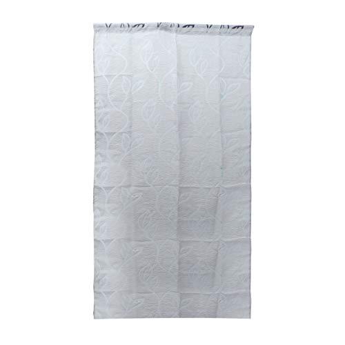 Vosarea Gardinen Transluzente Fensterscheiben mit Blättern Muster Voile Tüll Vorhänge Vorhänge Stangentasche für Wohnzimmer Küche (Grau) 100x200 cm -