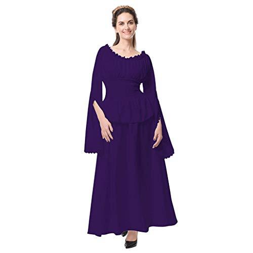 BURFLY Mode Damen Kleid, Frauen Retro Mittelalter Cosplay Party Club Elegante Maxi-Kleid Einfarbiges Rüschen O-Ausschnitt Langes Kleid -