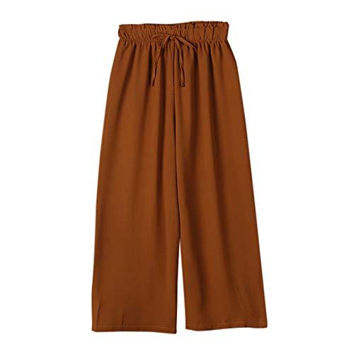 ein Palazzo Damen Solid Rüschen Lose Loose Swing Bequem High Waist Riemchen Tie Kordelzug Zug Casual Elegant Lang Long Trousers (2XL,Braun) ()