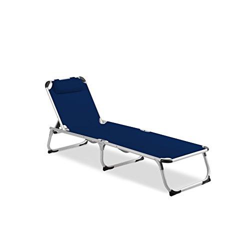 Vanage Gartenliege Helena in blau - Sonnenliege mit Textilbezug und Kissen - Liegestuhl ist klappbar...