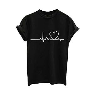 electrocardiogramas animales: LuckyGirls Camisetas de Manga Corta para Mujer Estampado de Electrocardiograma B...