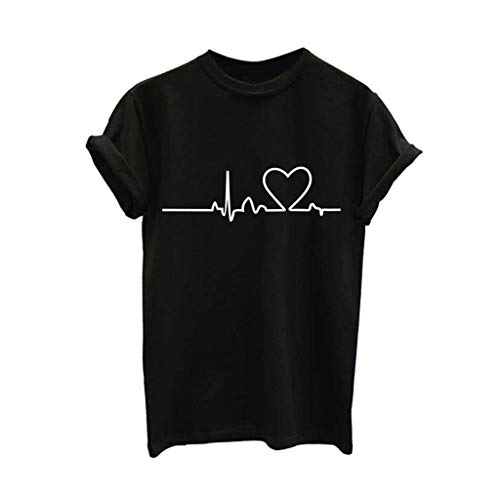 BHYDRY Mujeres Niñas Tallas Grandes Imprimir Camiseta Camisa de Manga Corta Blusa...