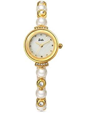 Barbie Damenuhr Armband mit Stahl und Perlen Armbanduhr Quarz Analog Uhr Gold Weiß #B50551L.03A