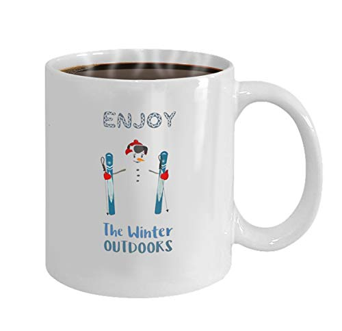 11oz-Gift For Men & Women Present Idea For Dad,Mom,Husband,Wife,Boyfriend,Girlfriend,Coworkers season motivation quote with snowman and enjoy the winter outdoors inscription -