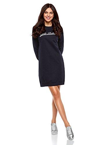 oodji Ultra Femme Robe Imprimé Style Sportif, Bleu, FR 44 / XL
