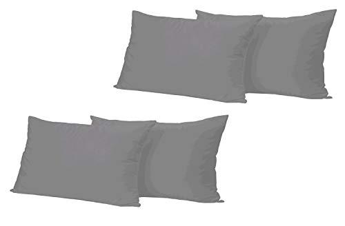 Leonado Vicenti 4 Stück Kissenbezug Baumwolle Renforce 40x60 cm Anthrazit Kissenhülle mit Reißverschluss
