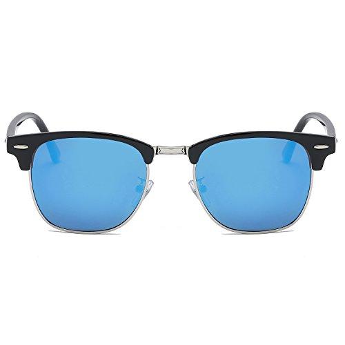 SOJOS Herren Brille Nerdbrille Brillenfassungen Wechselgläser Silikone Nasenpolster SJ5018 mit Schwarz Rahmen/Blau Linse