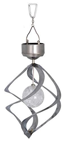 Best Season Star Lampe Solaire à LED décorative en Forme de Moulin à Vent avec Panneau Solaire et Pile Rechargeable Couleur Argent
