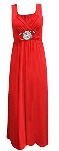 Damen Übergröße mit Taillengürtel, hinten zum Binden, Maxikleid, Gr. 16-26 Rot