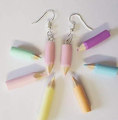boucles d'oreilles crayon de couleur rose pastel,cadeau école,cadeau maitresse,cadeau atsem