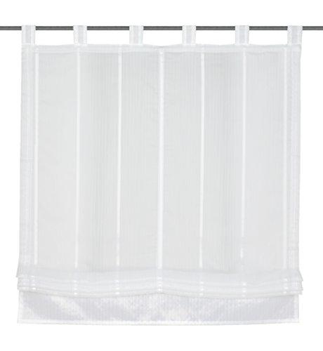 Home fashion 79187-501 - tenda a pacchetto, in misto organza, motivo a righe orizzontali, dimensioni: 150 x 100 cm, colore: bianco