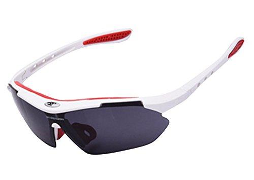ROBESBON Protection 100% UV400 Lunettes de Soleil Sport Cyclisme Ski Conduite Moto Mod Pêche Incassables Lunettes de Vélo Cyclisme Unisex pour Femme Homme Courir Sports de Plein Air Blanc AgfN1k