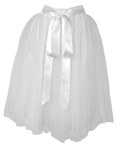 Dancina Damen Tutu A-Linie Knie Länge Tüllrock [Sticker XL] Weiß Gr. 42-46 (Tanzbekleidung Modische)