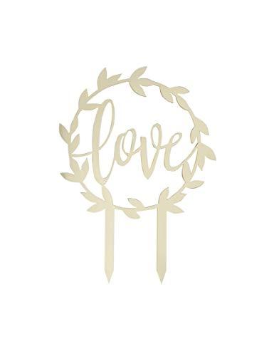 Gingeray Tortendeko Cake Topper Love Acryl Gold Wedding 15 x 20 cm Hochzeit Tortenschmuck Tortenfigur Schriftzug (Cake Topper Wedding Gold)