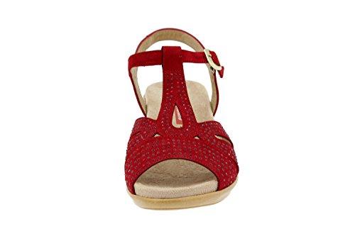 Chaussure femme confort en cuir Piesanto 4863 sandale semelle amovible confortables amples Rojo