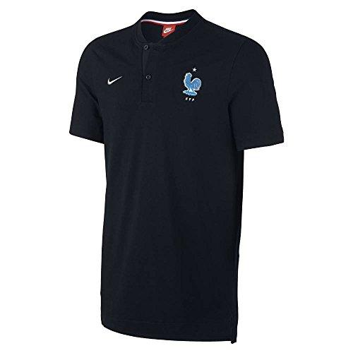 Nike FFF M NSW Modern GSP AUT Polo de Manga Corta Federación Francesa de Fútbol, Hombre, Negro (Black/Metallic Silver), XL
