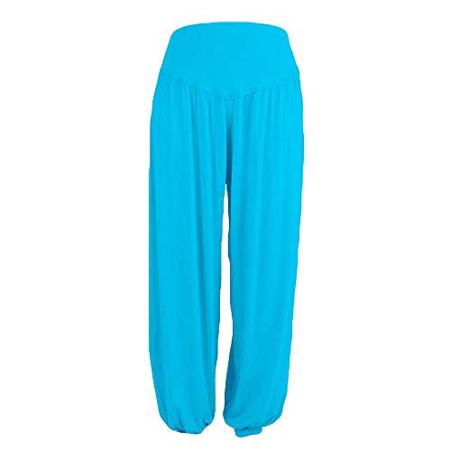 WOZOW Yoga Hosen Damen Bloomers Solid Einfarbig Aladdin Indian Thiland Lang Long Haremshose Pumphose Soft Loose Lose High Waist Casual Bequem Baggy Trousers Stoffhose Freizeithose (L,hellblau) - Low Rise Bootcut Lederhose