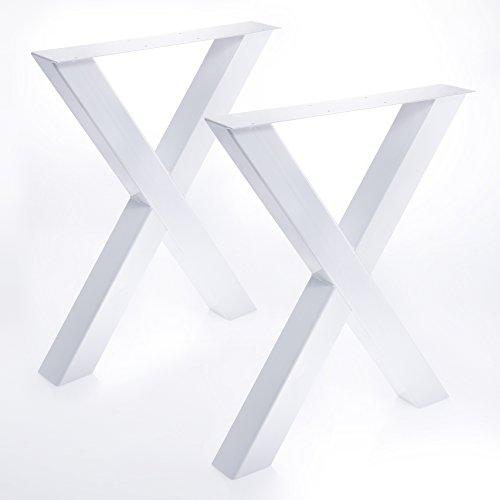 2 x Tischgestell in X Form weiß Pulverbeschichtet
