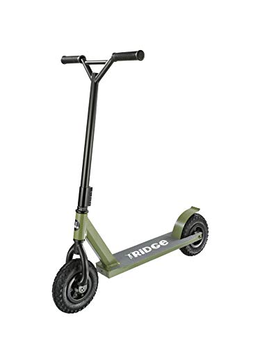 Dirt Scooter Trotinette de Ridge avec Pneus pneumatiques de 200mm d'air, fourches de Style BMX - Kaki