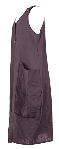 Mesdames Womens Lagenlook italienne excentrique sans manches 2 bouton sangle 2 Pocket tunique longue lin robe taille UK 10-14 Aubergine