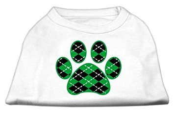 Mirage Pet Products Argyle Paw Green Screen Print Shirt weiß L (14)