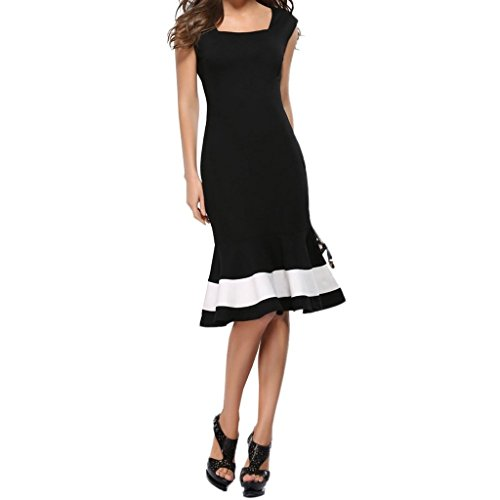 Monroe S sirena da donna con scollo a V e maniche corte Bodycon Cocktail Party Dress, donna, Black, S