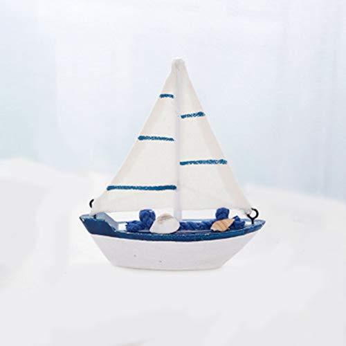 Tree-on-Life Vintage mediterranen Stil Marine nautische hölzerne Segelboot Schiff Holz Handwerk kreative Mini Ornament Dekor kompatibel für Schreibtisch Regal - Dekor Schiffe