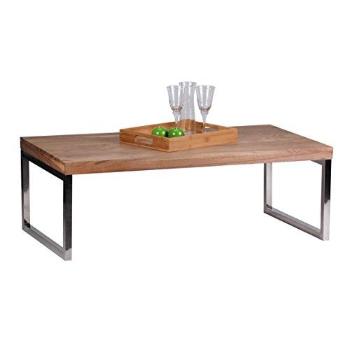 WOHNLING Couchtisch Massiv-Holz Akazie 120 cm breit Wohnzimmer-Tisch Design dunkel-braun Landhaus-Stil Beistelltisch Natur-Produkt Wohnzimmermöbel Unikat modern Massivholzmöbel Echtholz rechteckig (Wohnzimmer-tische)