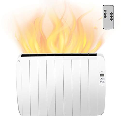 Heizkörper mit digitalem Thermostat 1500 Watt Elektroheizkörper mit 9 Rippen Elektro Heizplatte Radiator LCD-Display Digital Anti-Frost-Funktion Überhitzungsschutz Weiß von MICRO ENERGY SOLUTIONS