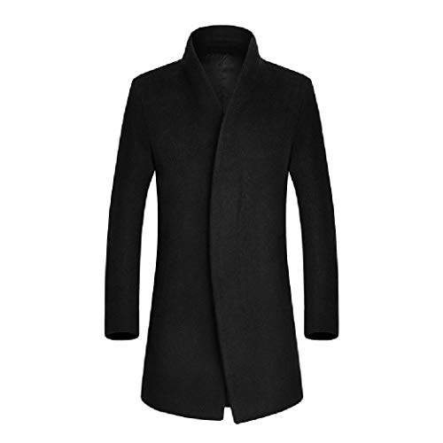 CuteRose Men Premium Overcoat Trench Wool Blended Fall Winter Single-Breasted PEA Coat Black M Black Double-breasted Peacoat